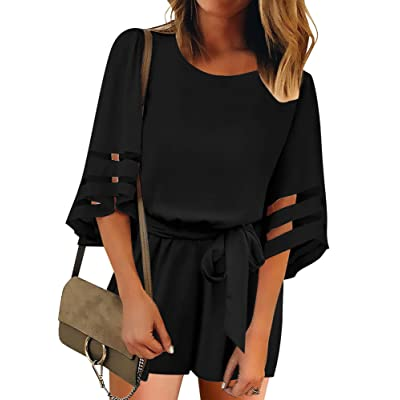 Utyful Women's Casual V Neck 3/4 Bell Sleeve Belted Chiffon One Piece Romper Shorts: Clothing