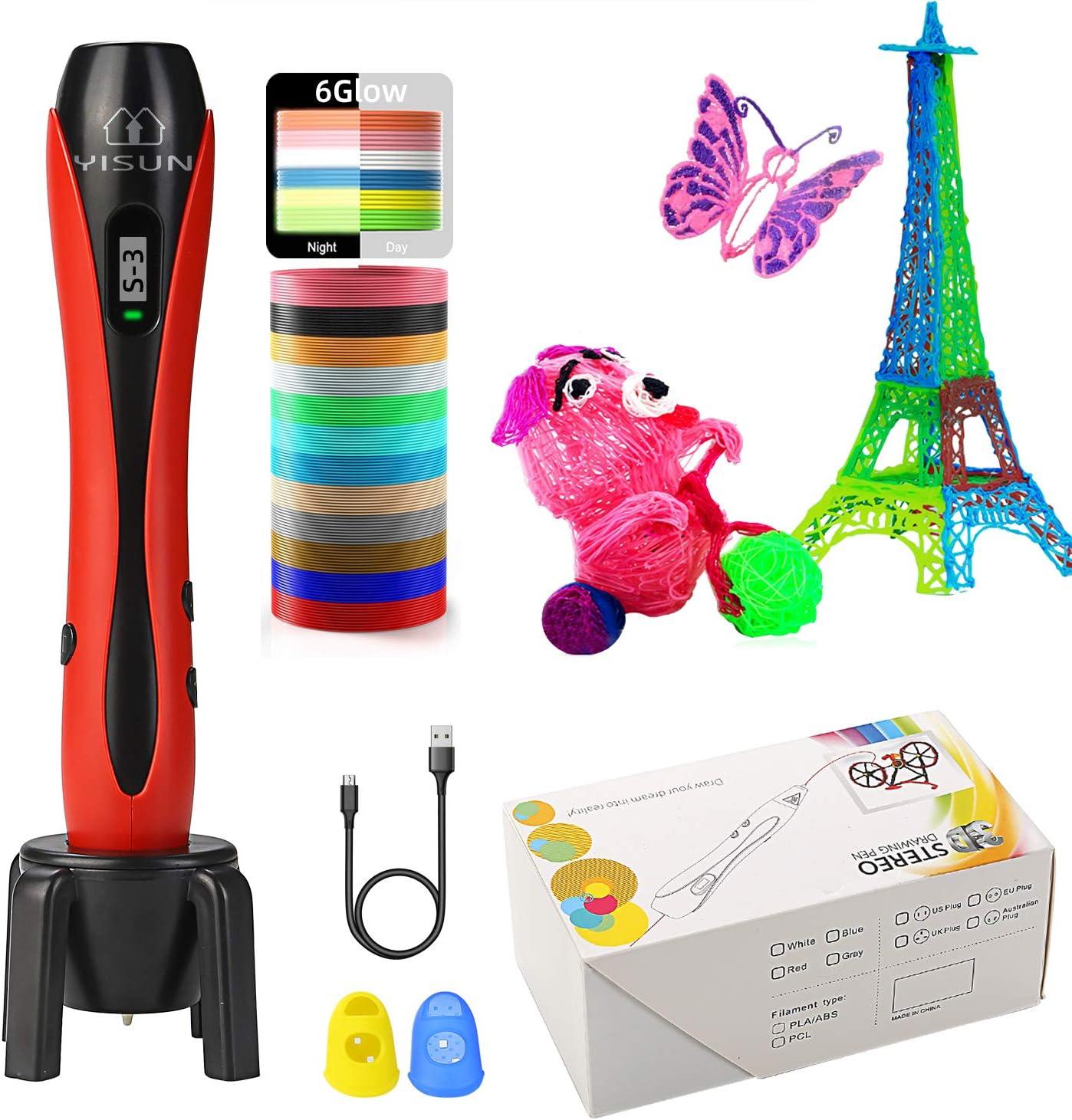 YISUN Pluma de Impresión 3D para Niños [Mejor Regalo Creativo] -Indicador de Velocidad LCD, Herramienta de Dibujo de Huellas de Filamento PLA/ABS, Cable USB de 120cm, Protectores de Dedos