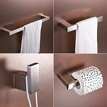 FLG Wall Mount Stainless Steel 4 Piece Bathroom Hardware Accessory Set  Brushed Nickel