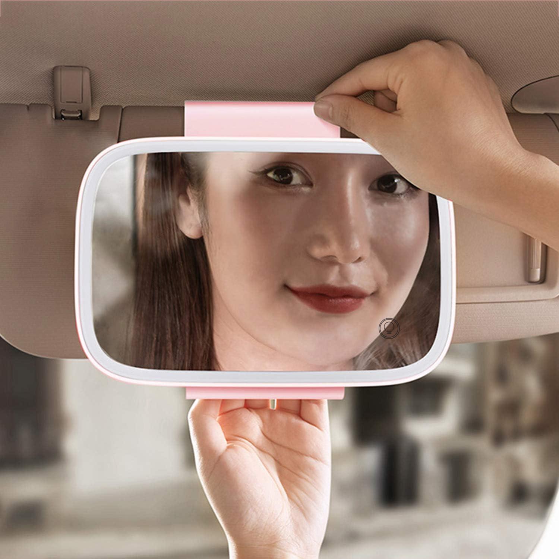 Tickas Auto Sonnenblende Spiegel,Auto Sonnenblende Spiegel mit LED-Lichtern Make-up Sonnenschutz Kosmetikspiegel Verstellbarer Kosmetikspiegel Clip auf Auto Touchscreen Schminkspiegel
