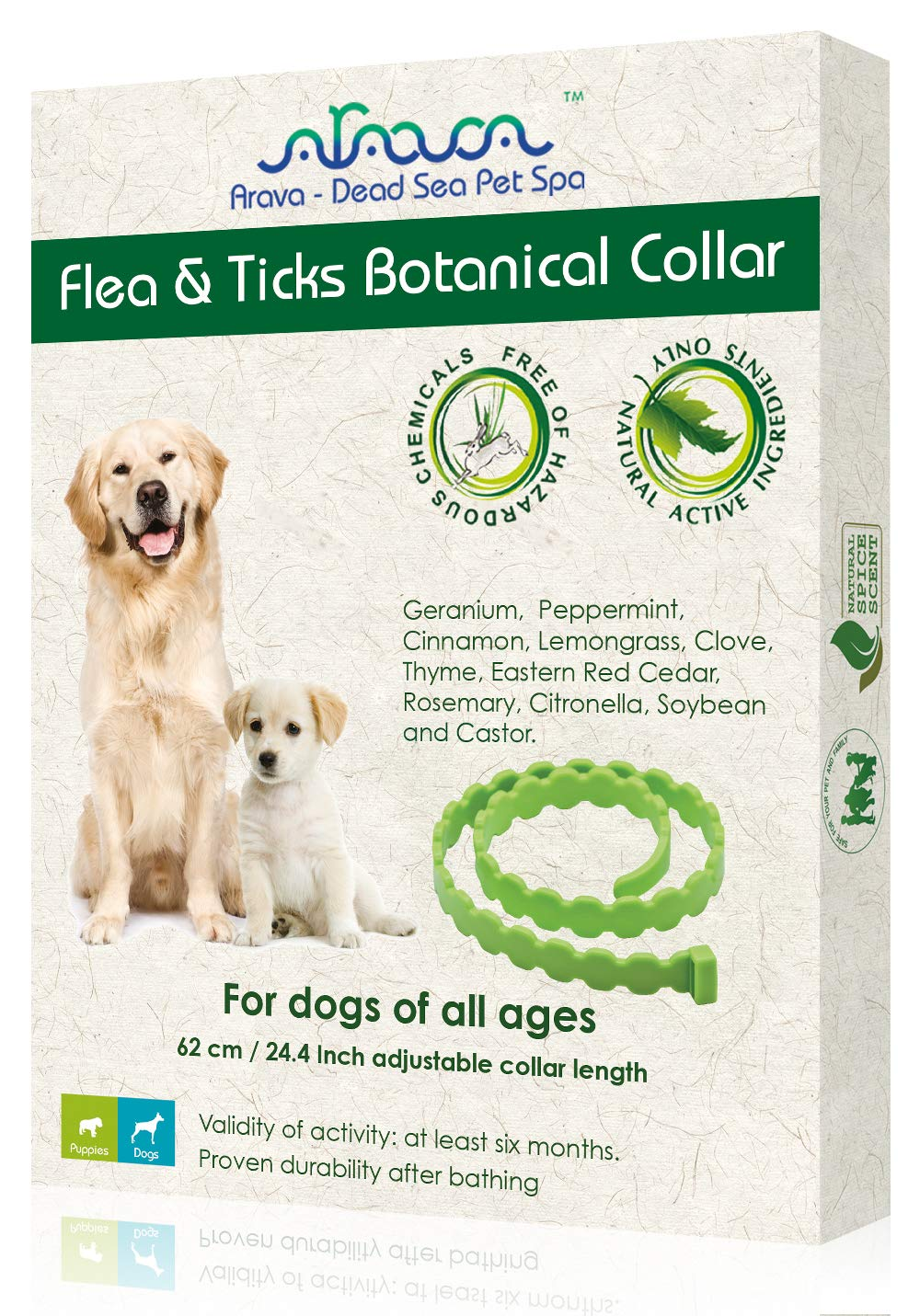 Arava Flea & Tick Prevention Collar - for Dogs & Puppies - Length-25'' - 11 Natural Active Ingredients - Safe for Babies & Pets - Safely Repels Pests - Enhanced Control & Defense - 6 Months Protection by Arava - Dead Sea Pet Spa