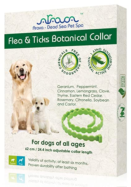 Arava Flea & Tick Prevention Collar - for Dogs & Puppies - Length-25'' - 11  Natural Active Ingredients - Safe for Babies & Pets - Safely Repels Pests