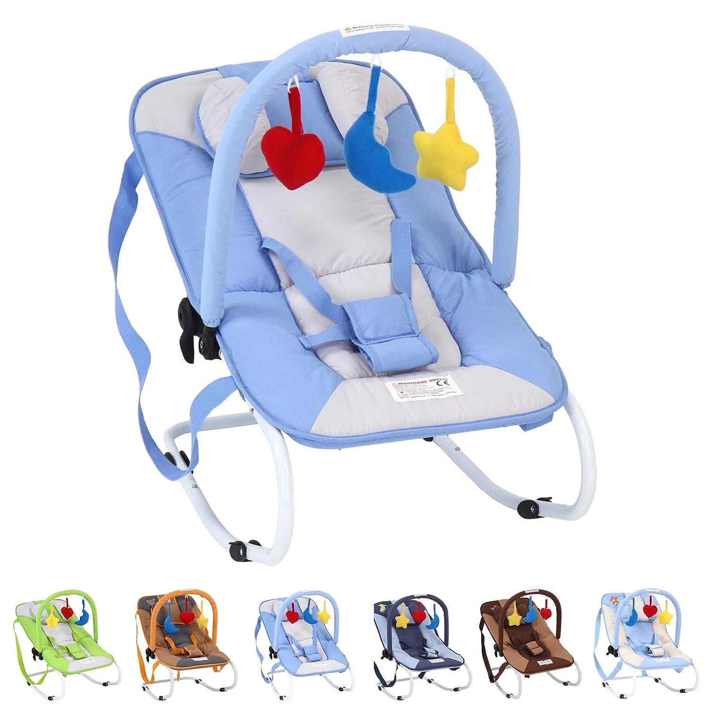 Infantastic Babywippe mit 3-Punkt-Sicherheitssystem mit stabilem Metallrohr-Gestell inkl. Spielbogen, 3 Spielzeuge, blau BWPE01Blauer