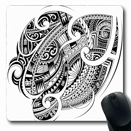 0e0915db7 Ahawoso Mousepads Maori Polynesian Ethnic Good Sleeve Abstract Samoa Tattoo  Tribal Artistic Black Chest Design Oblong