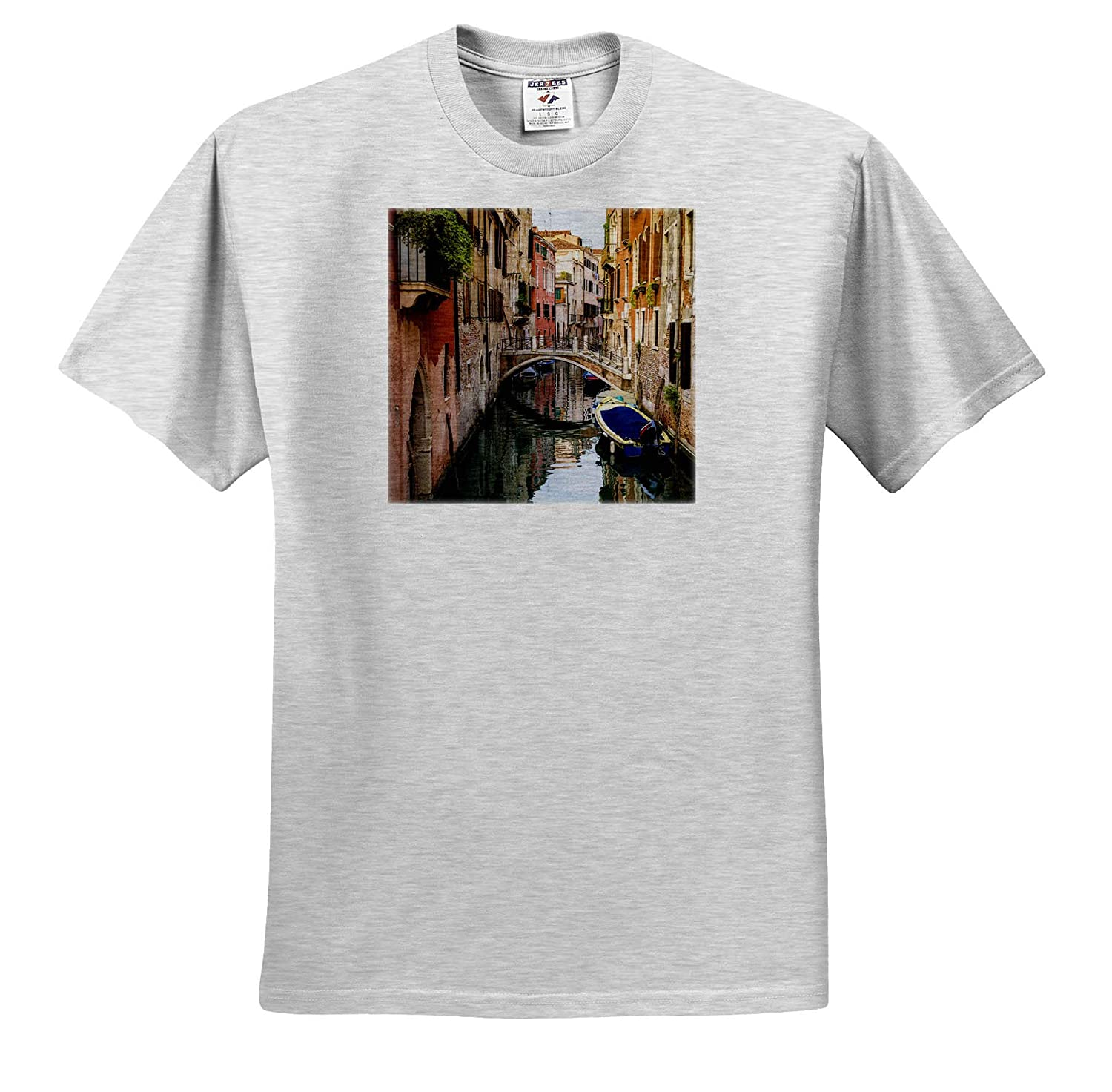 ts/_313740 Bridge and Boats Canal and Houses Italy Adult T-Shirt XL Veneto Venice Venice 3dRose Danita Delimont
