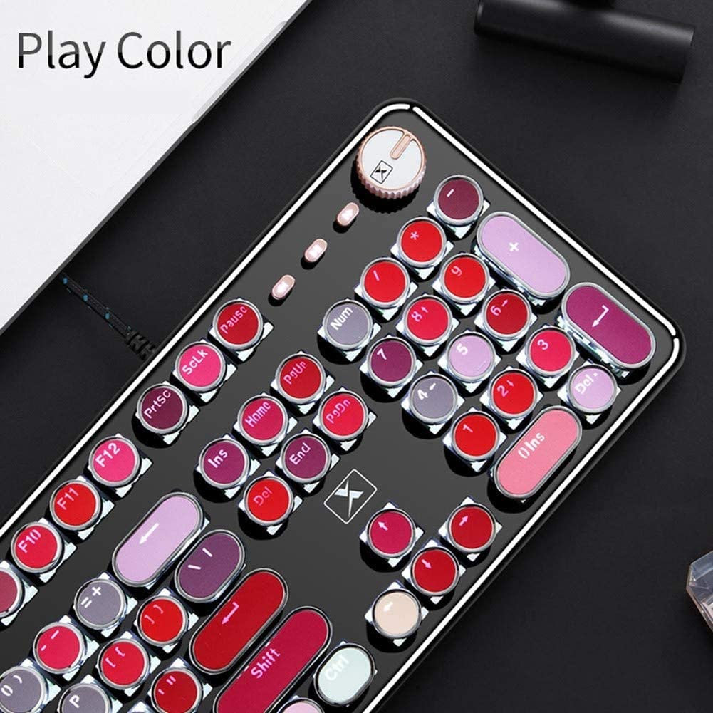 PSATO Lipstick Mechanical Gaming Keyboard USB Wired Computer Keypad with Programmable 104 Tactile Keys Punk Plating Keycap Support for Windows Mac