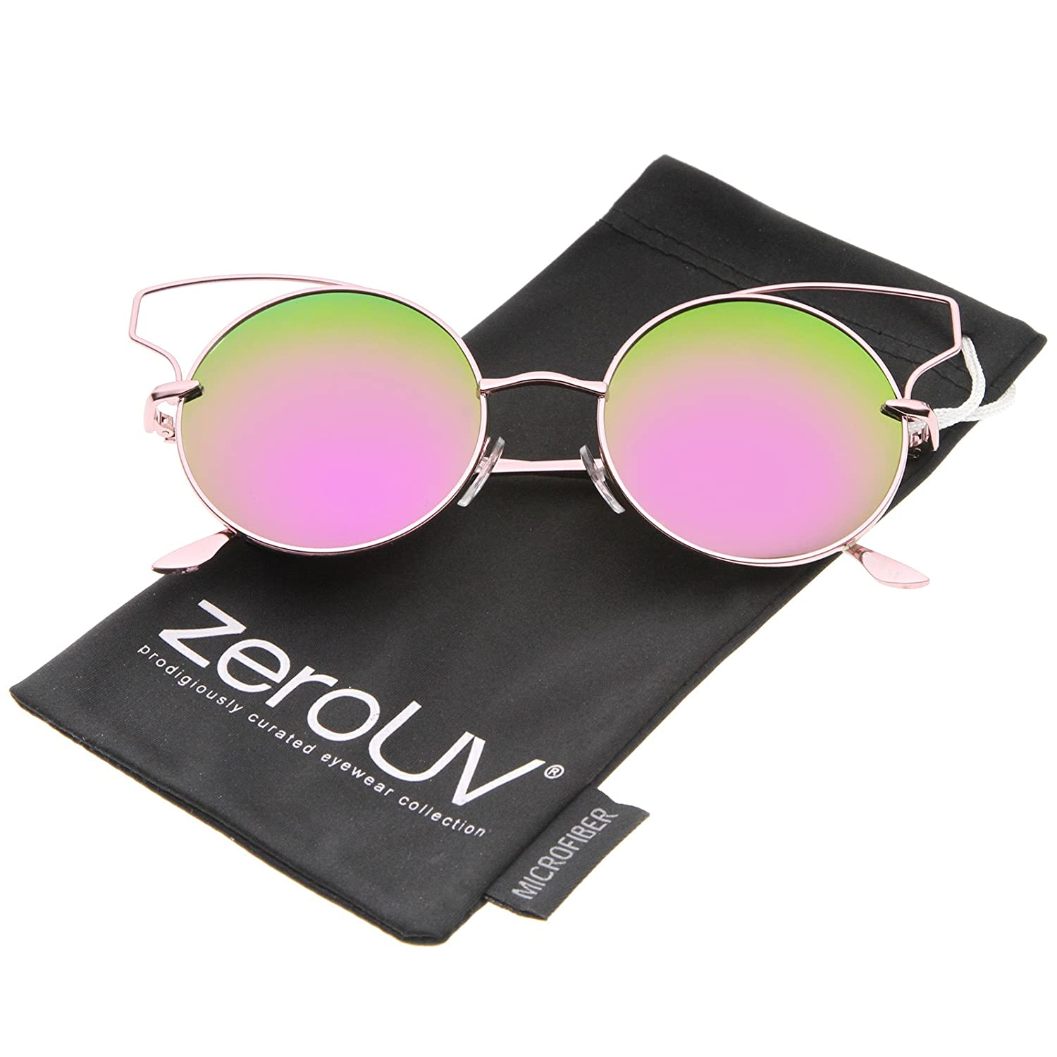 zeroUV - Women's Wire Open Metal Frame Color Mirror Lens Round Cat Eye Sunglasses 52mm
