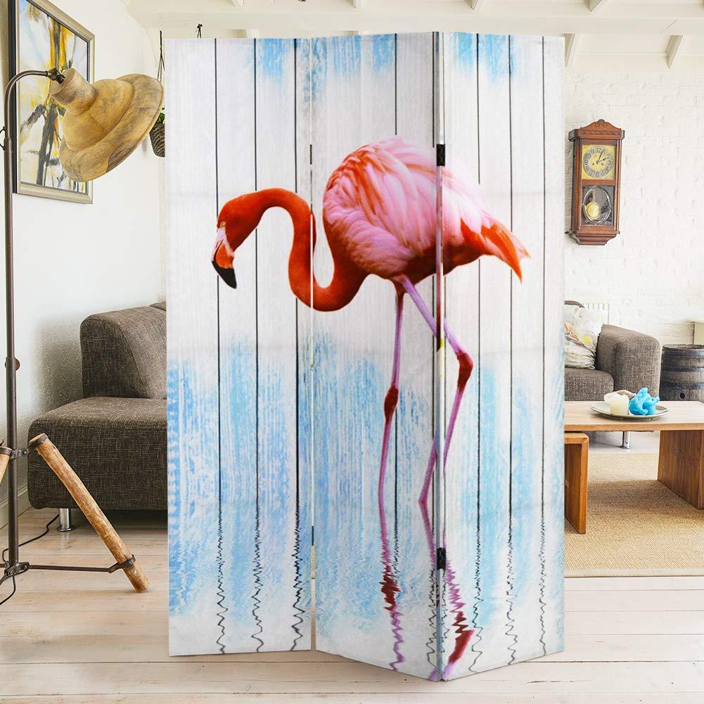 Bakaji Home Paravento Separ/è 3 Pannelli Struttura in Legno Rivestimento in Tela con Stampa Fronte Retro Fenicottero Rosa Divisorio Richiudibile Pieghevole 180 x 120 cm