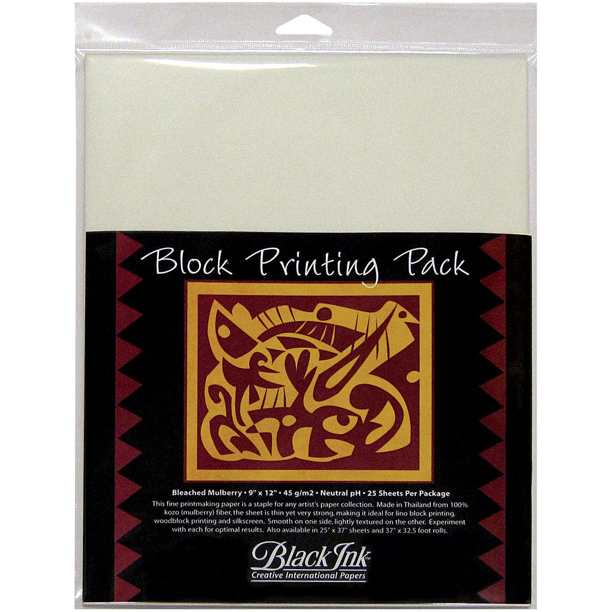 Black Ink 9-Inch by 12-Inch Bleached Mulberry Block Printing Paper, 25-Pack
