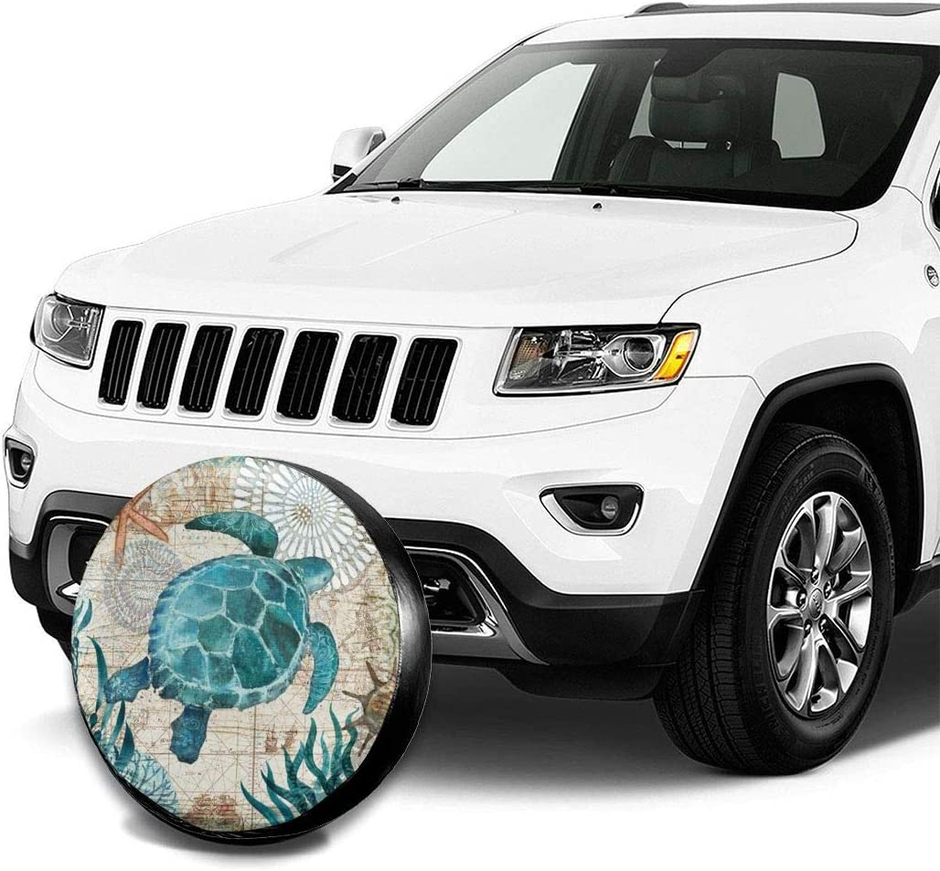 MSGUIDE Spare Tire Cover Sea Turtle for Jeep Trailer Rv Truck 14 15 16 17 Inch Sunscreen Dustproof Corrosion Proof Wheel Cover