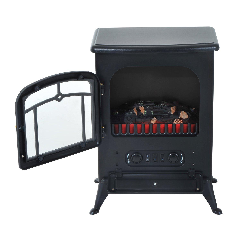 Chimenea eléctrica con termostato y llama LED de luminosidad regulable, superficie de calefacción de 30 ㎡, 950 W/1850 W, vidrio templado, negro: Amazon.es: ...
