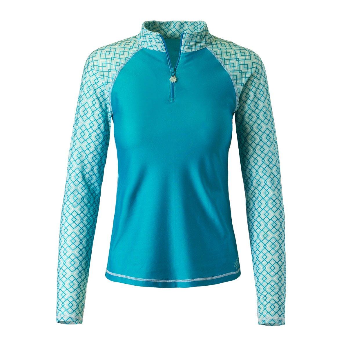 UV SKINZ UPF 50+ Womens Long Sleeve Quarter Zip Sun & Swim Shirt (XL, Teal/Beach Glass Geo)