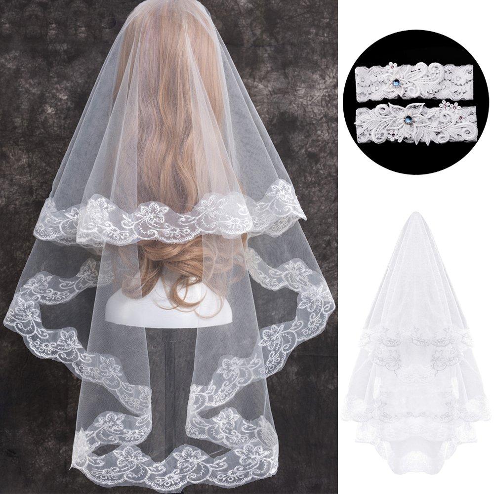 1t One Tier Women Wedding Bridal Veils Longble Elegant White Waist