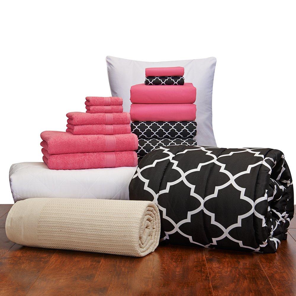 16 Piece Starter Pak Deep Pink Lattice Twin XL College Dorm Bedding and Bath Set