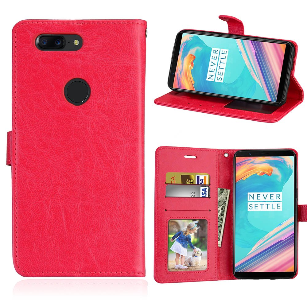 OnePlus 5T - Backcover Luxury Wallet Style Flip Cover Case For OnePlus 5T ONLY (OnePlus 5T Cover Red)