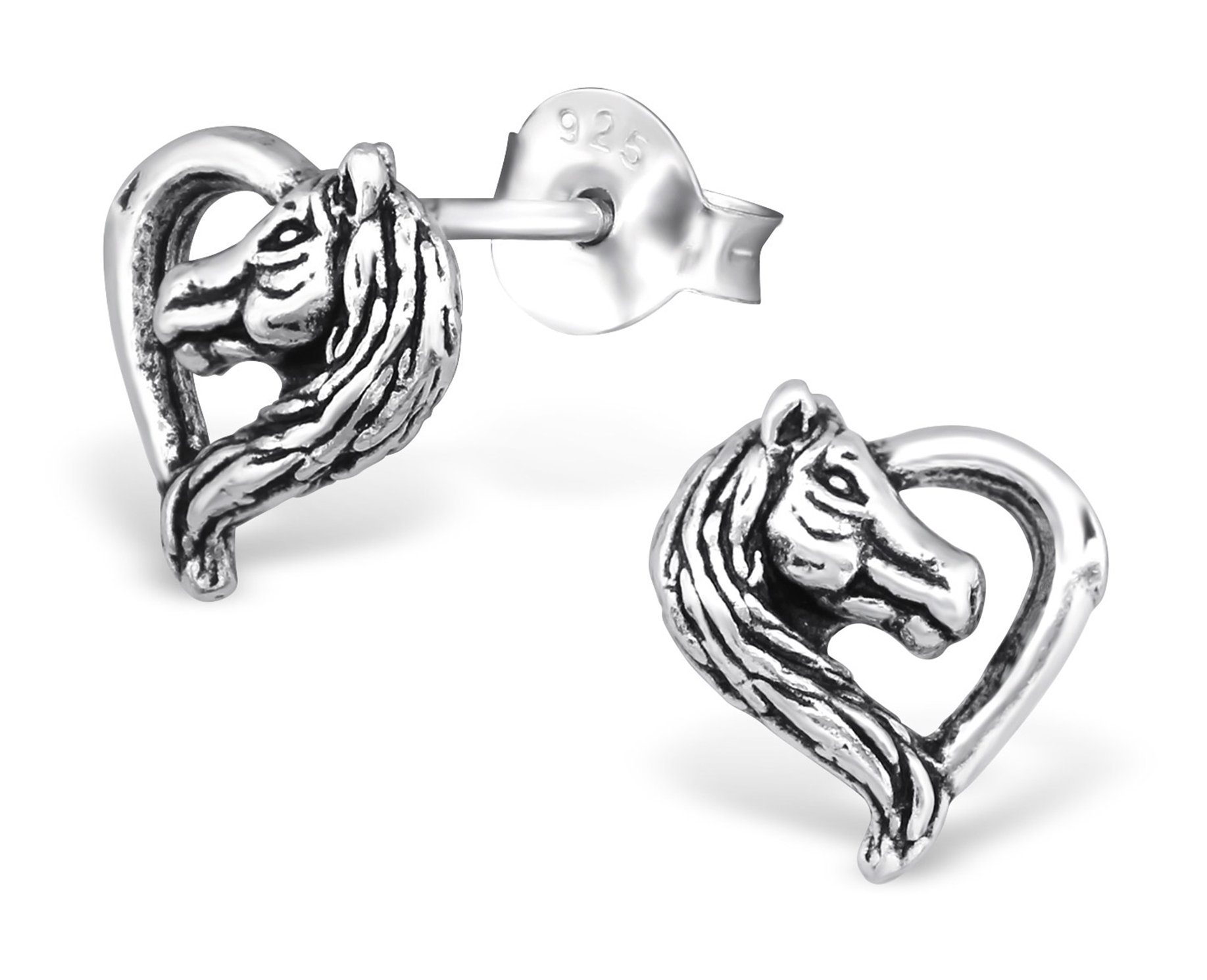 Best Wing Jewelry .925 Sterling Silver ''Horse Lover'' Tiny Stud Earrings