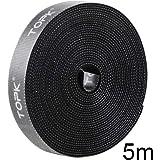 TOPK 結束テープ 両面 [幅14mm×長さ5m] 巻き ケーブル結束バンドで好きな長さにカットできる 配線収納 ケーブル 整理 繰り返し利用可能(ブラック)