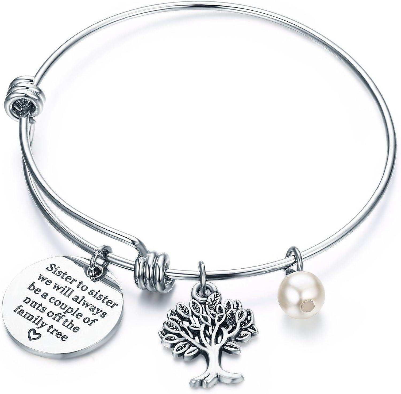 CJ&M Sister - Pulsera de joyería – hermana a hermana que siempre seremos una pareja de tuercas del árbol familiar, regalo para hermana