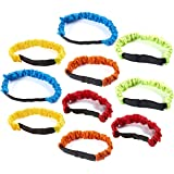 10-Pack 3-Legged Race Bands - Three Legged Race Elastic Tie Rope Straps for Relay Games, 5 Assorted Colors, 2 of Each, Birthday, Carnival Party Games for Kids, Stretches Up To 26.5 Inches