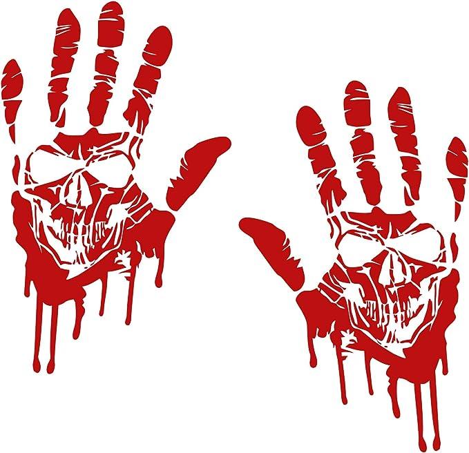 Finest Folia 2 Blutige Hände Je 22cm Blutspuren Aufkleber Auto Sticker Frontscheibenaufkleber K014 2er Set Blutige Hände Totenkopf Auto