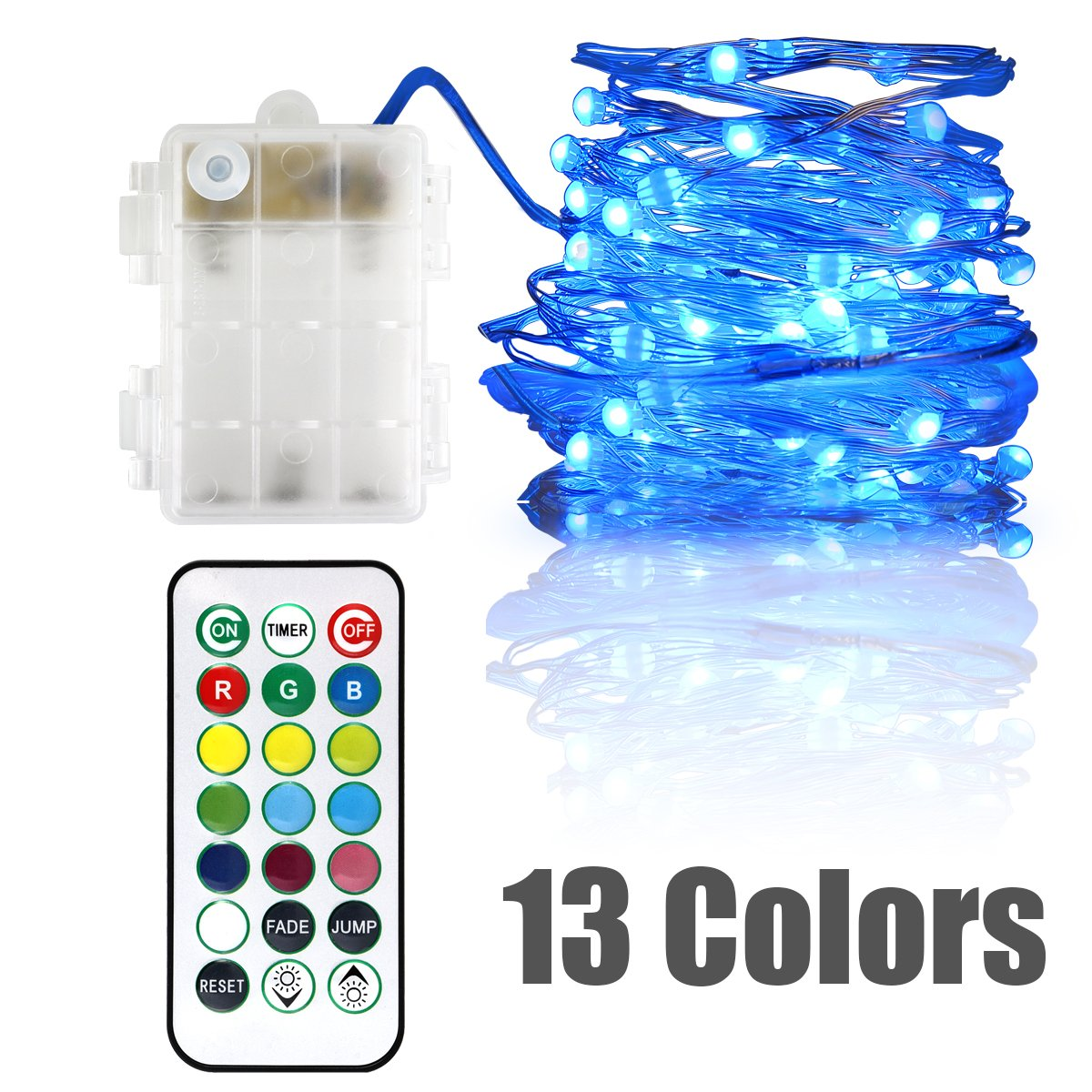 Flashing Led Battery Powered String Lights Twinkle Led Lights Color Changing Fairy Lights for Bedroom Firefly Fairy String Lights Flashing Remote Control Waterproof 13 Colors 16 ft 50 leds