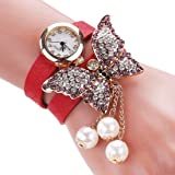 Mehrunnisa Multiband Red Leather Fashion Analog Butterfly Pearl Charm Bracelet Watch For Girls (JWL626)