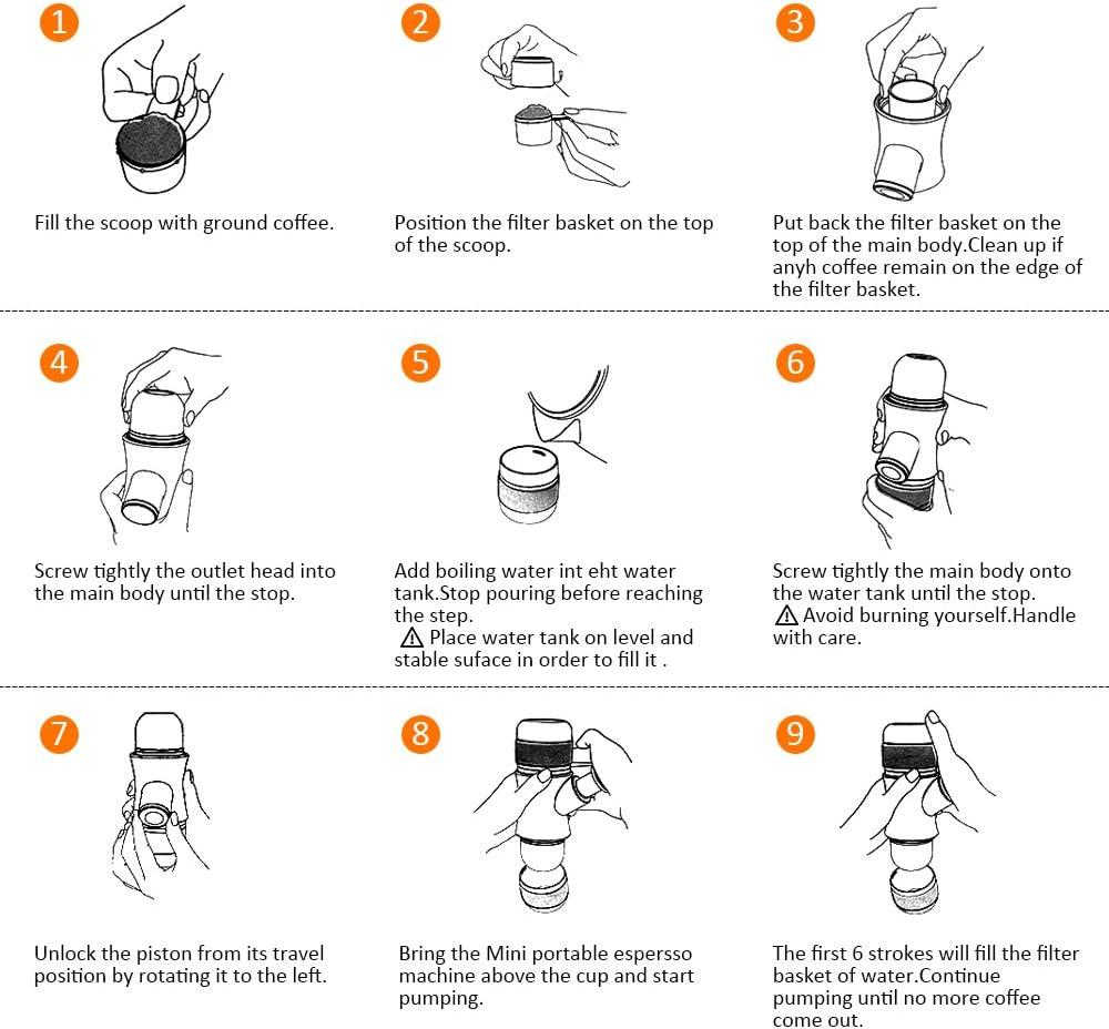 GRH Mini Cafetera Portátil Manual Espresso Cafetera Presión de ...