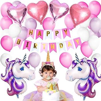 Vston Licorne Party Décoration Ballons Joyeux Anniversaire Parti