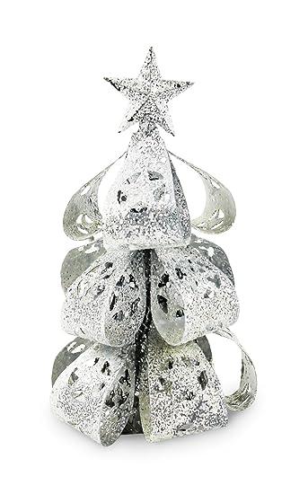 Weihnachtsbaum Silber Weiß.Tempelwelt Deko Figur Tanne Wintertanne Verschneit 15 Cm Groß