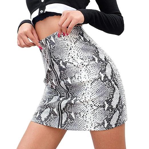 aa0097a075 HULKAY Women Sexy Faux Leather Mini Skirt Snake Grain Printing Zipper Slim  Hip Wrap Skirts(