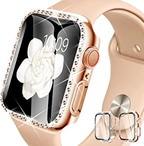 DABAOZA Compatible for Apple Watch 40mm Screen Protector, [2 Pack] Bling Women Dressy Crystal Diamonds Hard PC Rhinestone Protective Cover Bumper for iWatch Case SE/Series 6/5/4 (40mm, Clear+Rosegold)