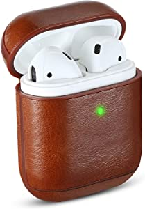 Airpods Case Cover Leather, MAPUCE Airpod Cases Leather Compatible for Apple Airpods 2&1 Case Air Pod Case Protective Front LED Visible Shockproof Drop-Proof Dust-Proof(Brown)