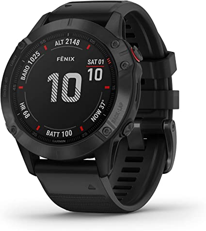 Garmin Fenix 6 Pro, Premium Multisport GPS Watch, features Mapping, Music, Grade-Adjusted Pace Guidance and Pulse Ox Sensors, Black