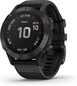 Garmin 010-02158-01 Fenix 6 Pro, Premium Multisport GPS Watch, features Mapping, Music, Grade-Adjusted Pace Guidance and Pulse Ox Sensors, Black