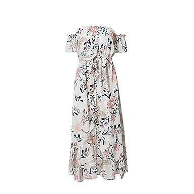 Off Shoulder Print Boho Dresses 2018 Short Sleeve Backless Beach Vestidos Dress,White,S