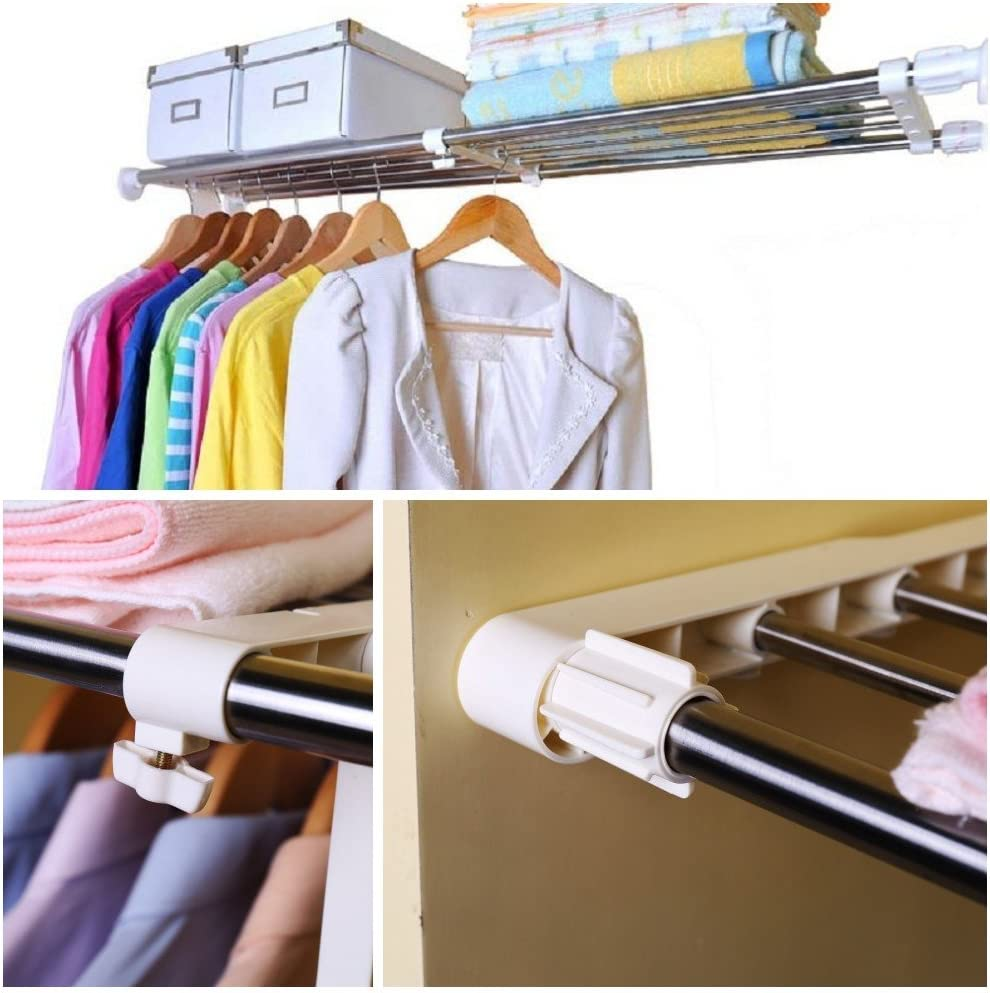 BAOYOUNI Tension Shelf Expandable Clothes Closet Organizer Rack Adjustable DIY Wardrobe Dividers Separator Ivory 15.75-23.62 Inches