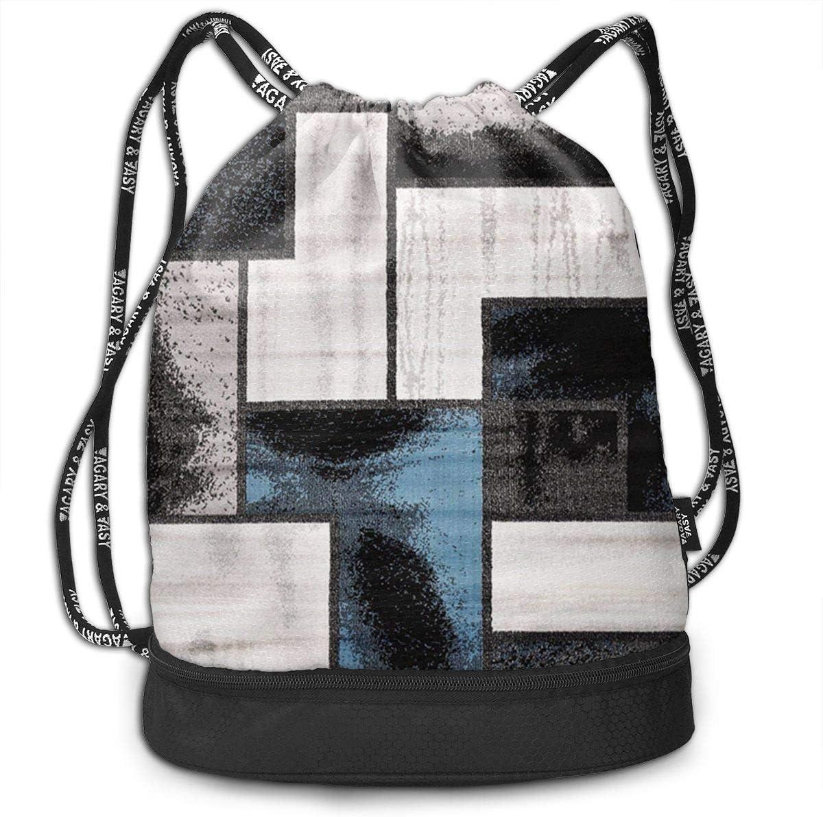HUOPR5Q Lattice-Pattern Drawstring Backpack Sport Gym Sack Shoulder Bulk Bag Dance Bag for School Travel