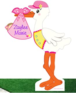 Amazon Com Cute News It S A Girl Flying Lawn Stork Sign Welcome