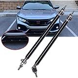 2pcs Aluminum Adjustable 8'-11' Black Front Rear Bumper Lip Splitter Diffuser Strut Rod Tie Bars Fit Most Vehicles