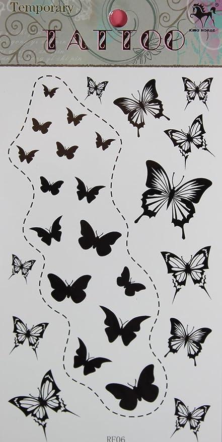 GGSELL GGSELL King caballo nuevo diseño negro mariposas Tatuajes ...