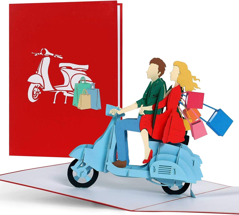 Tarjeta de regalo de compras para mujeres, regalo de compras, regalo para mamá, regalos o ideas de regalo para ella, esposa, mejor amiga, mamá, tarjeta desplegable 3D, Vespa Scooter, H18