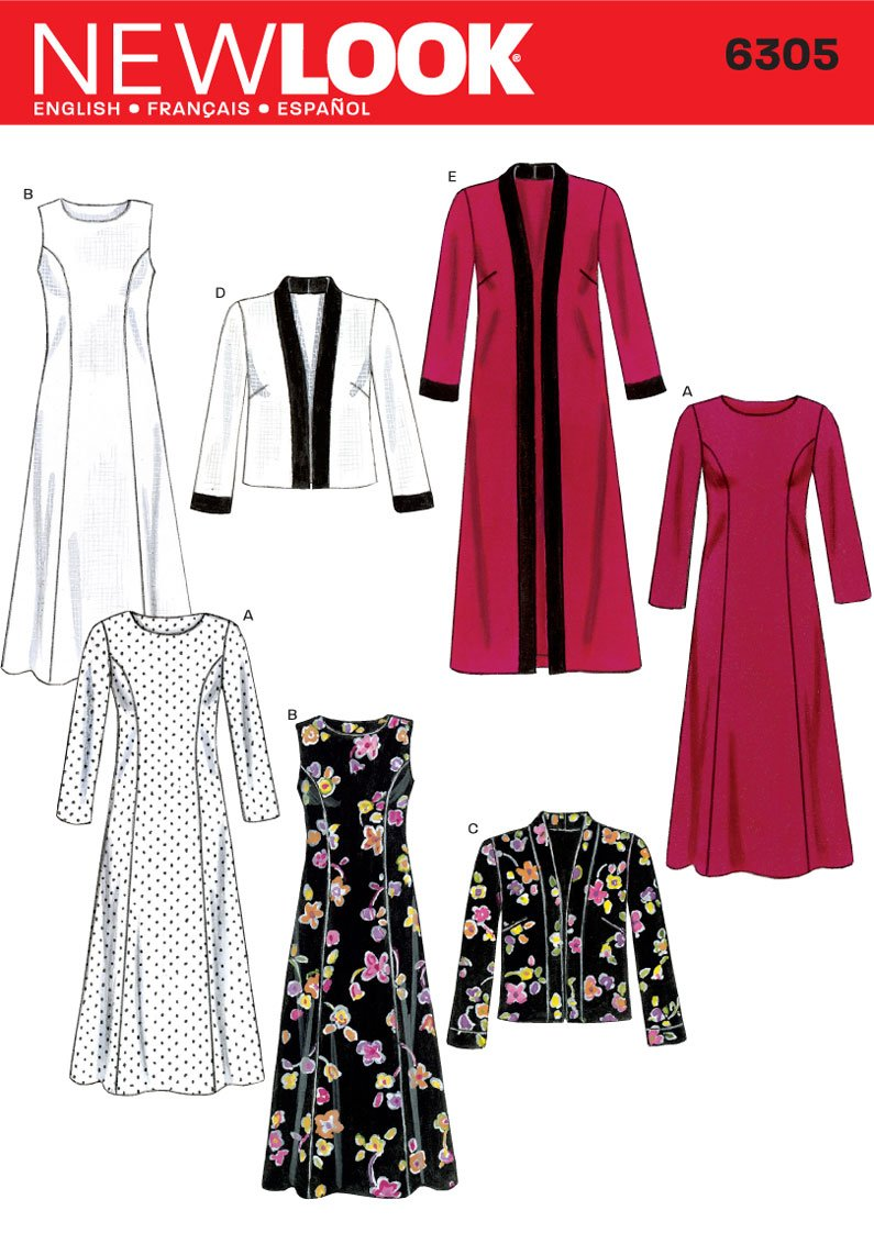 New Look Sewing Pattern 6305 Misses Dresses, Size A (10-12-14-16-18-20-22) Simplicity Creative Patterns