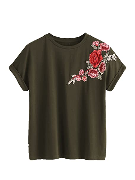 Amazon Romwe Womens Floral Embroidery Cuffed Short Sleeve