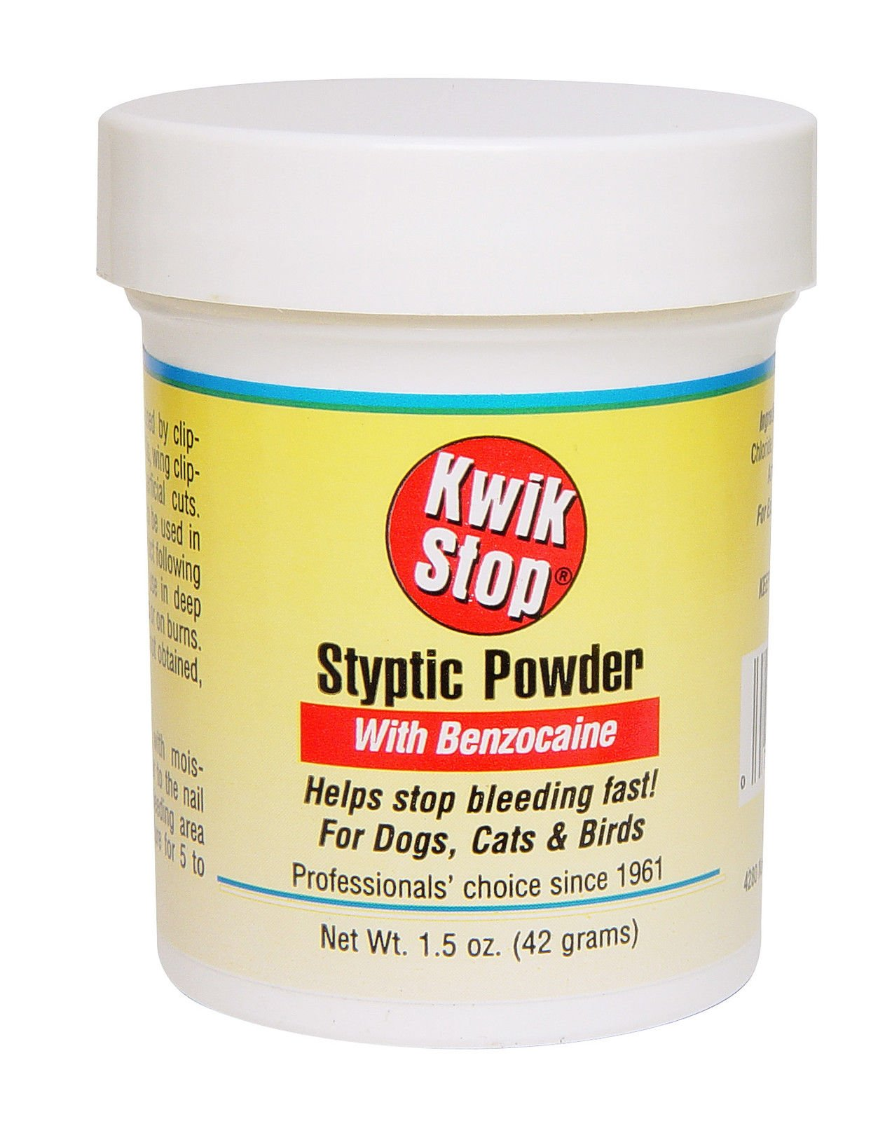 Kwik Stop Styptic Powder Helps Stop Nail Bleeding Fast! For Dogs, Cats & Birds 1.5 oz