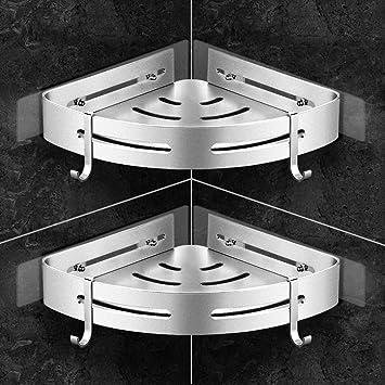 Gricol Ba/ño Ducha Estante de Esquina Tri/ángulo de Acero Inoxidable Ducha de Pared Estantes de Carrito Autoadhesivo Montado en la Pared Cesta para Cocina Ba/ño