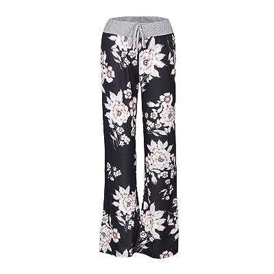 ADAMARIS Pants for Women Casual Floral Printed Drawstring Wide Leg Lounge Pants Black Gray at Amazon Women's Clothing store