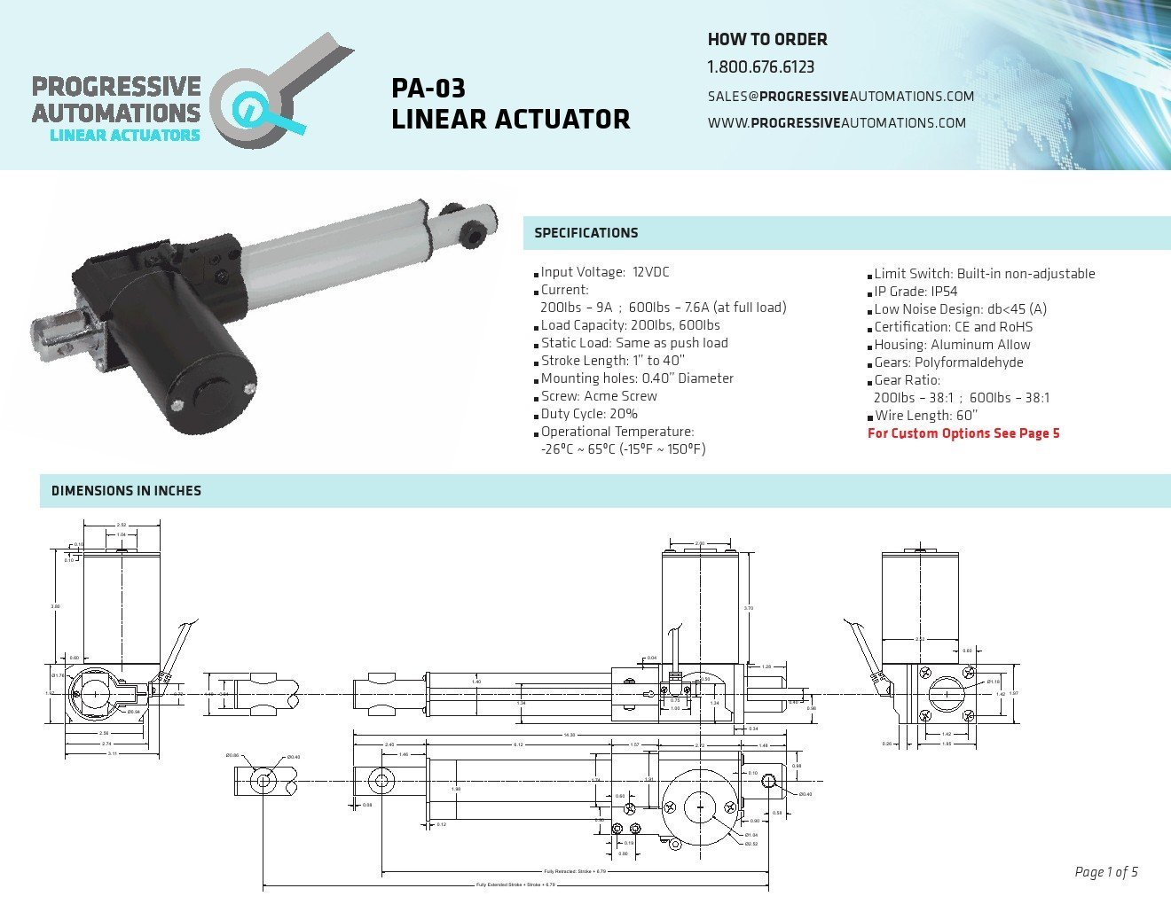 Pa 03 Linear Actuator Wiring Diagram Schematics Progressive Automations Stroke Size 6 Force 200 Controller