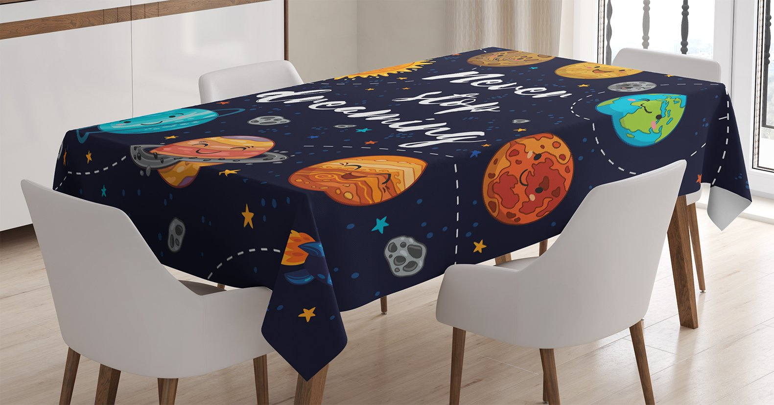 Ambesonne Quotes Decor Tablecloth, Cute Outer Space Planets and Star Cluster Solar System Moon and Comets Sun Cosmos Illustration, Rectangular Table Cover for Dining Room Kitchen, 52x70 inch, Multi
