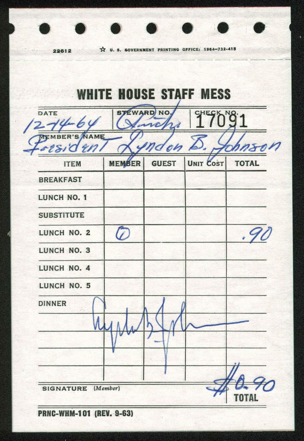 Lyndon B. Johnson Autographed Signed 4X6 White House Staff Mess Lunch Ticket PSA #Ad07531