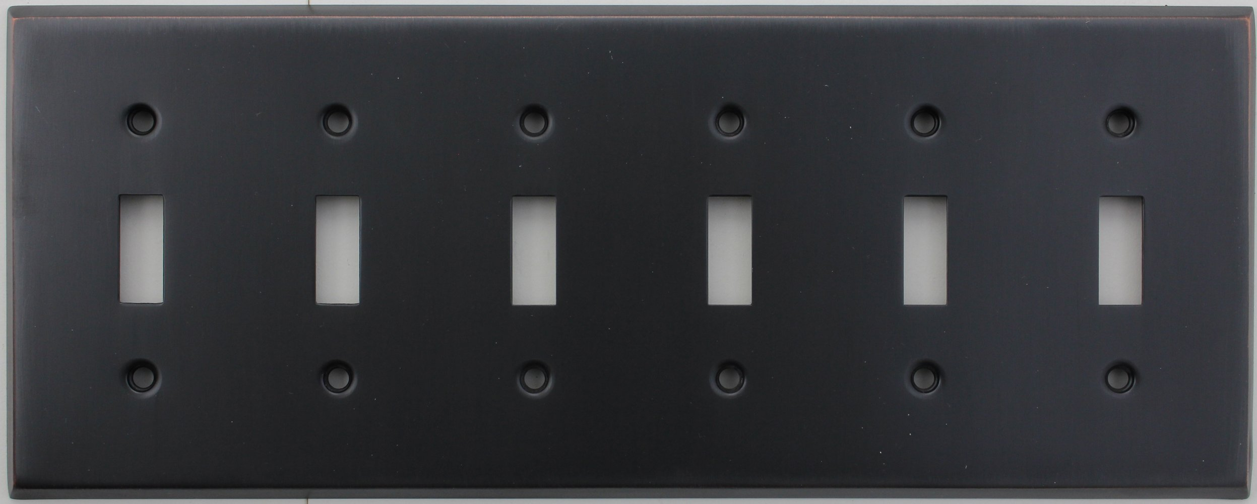 Classic Accents Stamped Steel Oil Rubbed Bronze Six Gang Toggle Light Switch Wall Plate